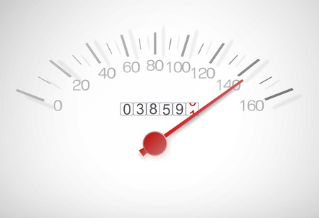 surpassing: Speedometer with a red arrow almost at top speed Stock Photo