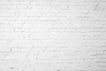 cracked wall: White plastered textured brick wall Illustration