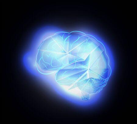 nerve fibers: Glowing human brain, artificial intelligence concept