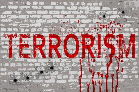 terrorism: Terrorism inscription on the attacked city wall
