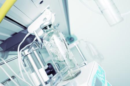 nursing bottle: Medicine bottle with foaming content on the hospital equipment