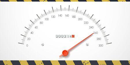 mileage: Dangerous speed value on the speedometer. Stock Photo