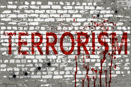 militant: Terrorism inscription on the attacked city wall