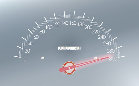 km: Maximum speed on the speedometer. Stock Photo