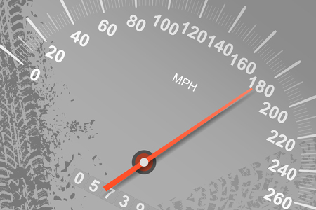 Abstract speedometer with traces of roads and tires