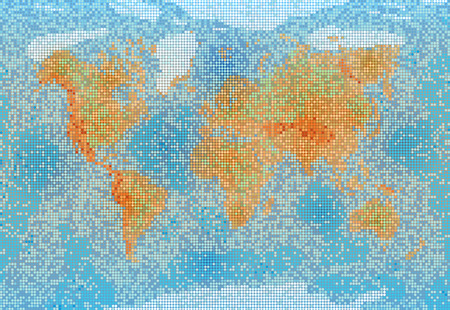 World map with relief depth and height.