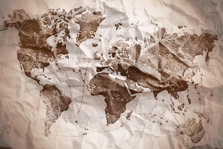 Altpapier texturierte Weltkarte