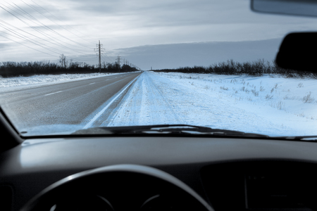 stopping: Stopping on the winter highway Stock Photo