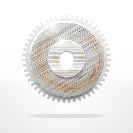 rusty: Rusty gear. Technological Industrial object. Abstract vector design Illustration