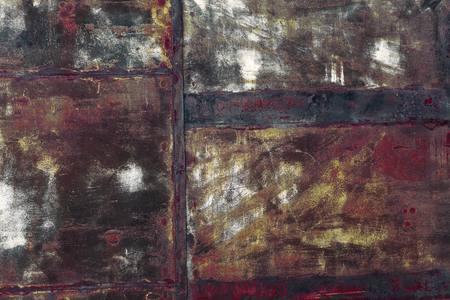 patched: Rusty patched metal sheet background. Stock Photo