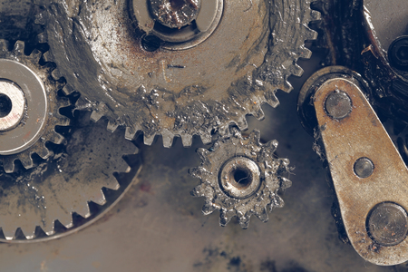 lubrication: Group of gear wheels working together. Stock Photo