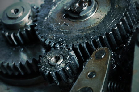 rotating: Interaction in the old gear mechanism.