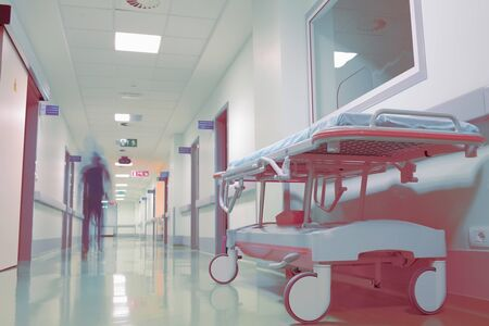 Death of a patient in the night hospital. Stock Photo