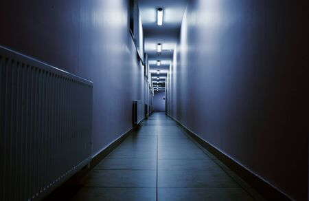 corridors: Terrifying night corridor in perspective. Stock Photo