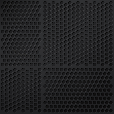 grille: Background of matte black grid with round perforations Illustration
