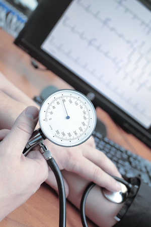 medical technical equipment: Measurement of blood pressure in a hospital