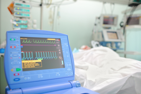health care facilities: Medical machinery in intensive care unit.