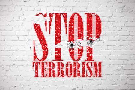 white wall: Stop terrorism the inscription on the white brick wall. Vector illustration Illustration