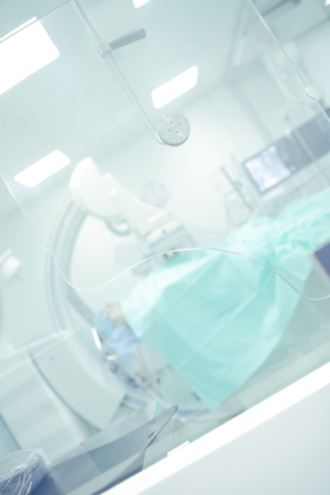 roentgen: X-ray operating room in the hospital, defocused background. Stock Photo