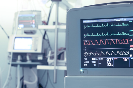 parameters: Monitor equipment with vital parameters in ICU Stock Photo