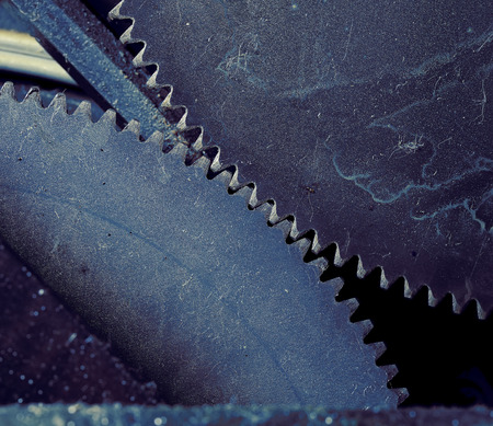 congruence: Collaboration of two gear wheels macro. Stock Photo