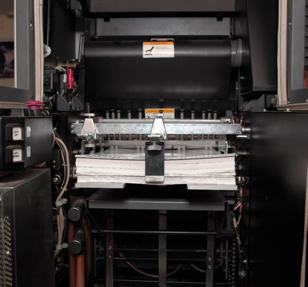 printery: Paper in offset printing machine.