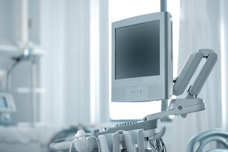electronic survey: Modern ultrasound in hospital room.