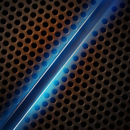 metal cutting: Iron perforated background with blue glow.