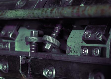 printery: Fragment of printing machine macro. Stock Photo