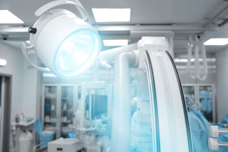 surgical light: Surgical lamp light in modern advanced operating Hall Stock Photo
