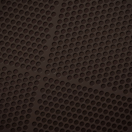 grille: Background of matte black grid with round perforations.