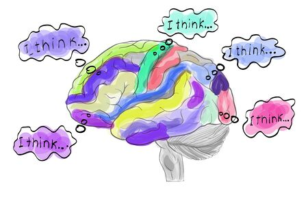 crinkles: Thinking working colored human brain