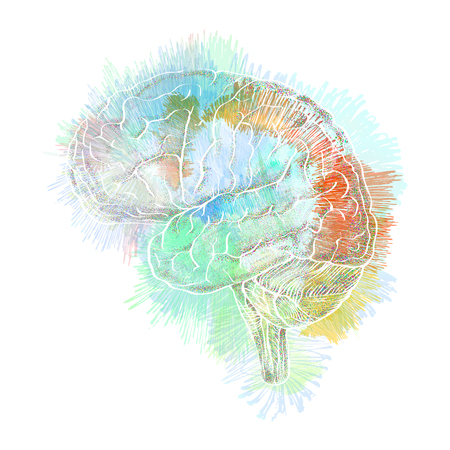 analyze: Storm of thoughts in the brain abstract illustration, concept of association and human creativity