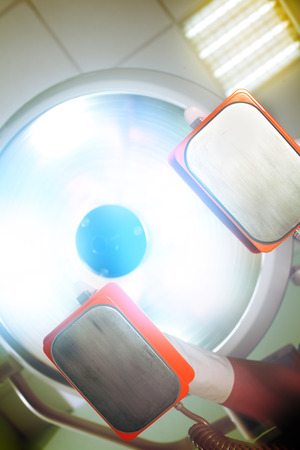 otherworldly: Otherworldly blinding light during patients salvation. Stock Photo