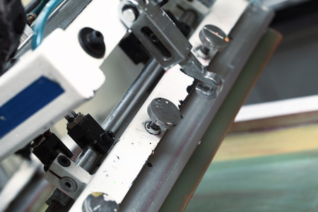 silk screen: Detail of silk-screen printing machines.