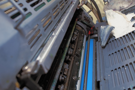 techical: Preventive maintenance of an offset printing machine. Stock Photo