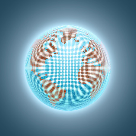 Earth in the blue glow of the atmosphere from space Illustration