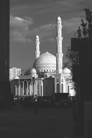 black shadows: Mosque shot from the shadows in black and white.