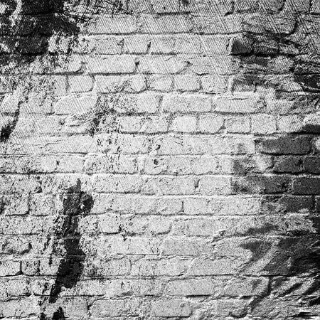textured wall: Whitewashed brick wall, textured background. Stock Photo