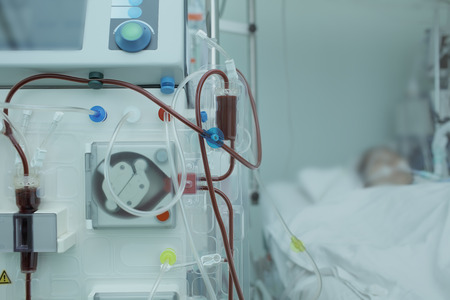 apparatus: Hemodialysis apparatus connected to the patient in ICU.
