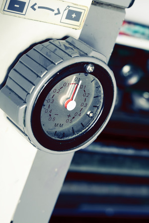 metering: Mechanical measurement interval metering device. Stock Photo