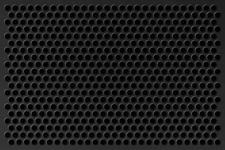 Perforated background. Metal bar with round pressed holes as an element of techno design. Stock Photo