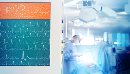 Heartbeat monitoring during surgical operation.