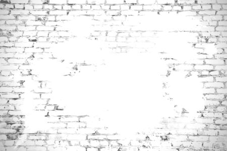 Brick wall with stained whitewash background with space for your message. 版權商用圖片