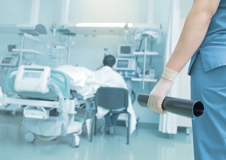 Female doctor brought the test results to a patient. Stock Photo