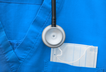 Medical profession concept in the form of a stethoscope and medical clothes