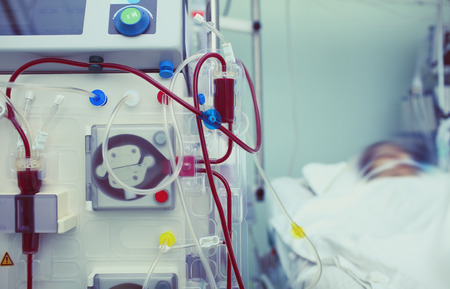 Haemodialysis machinery in work process. Stockfoto