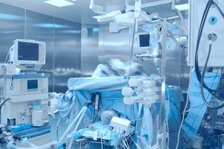 Operating room with equipment in hospital.