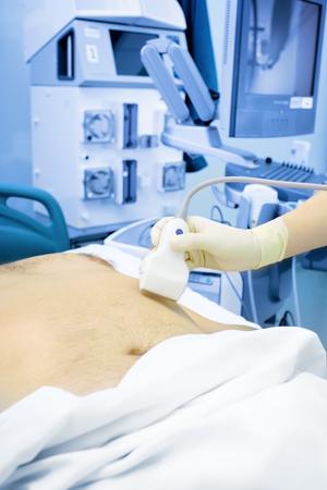 Providing ultrasonic examination in hospital.