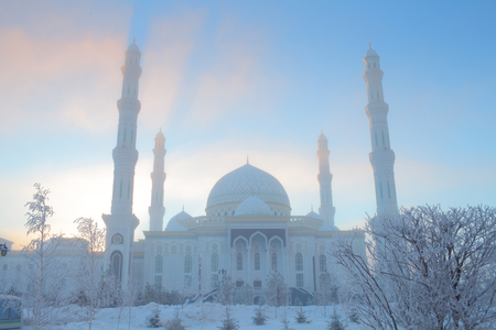 Winter mosque on the background of blue sky.